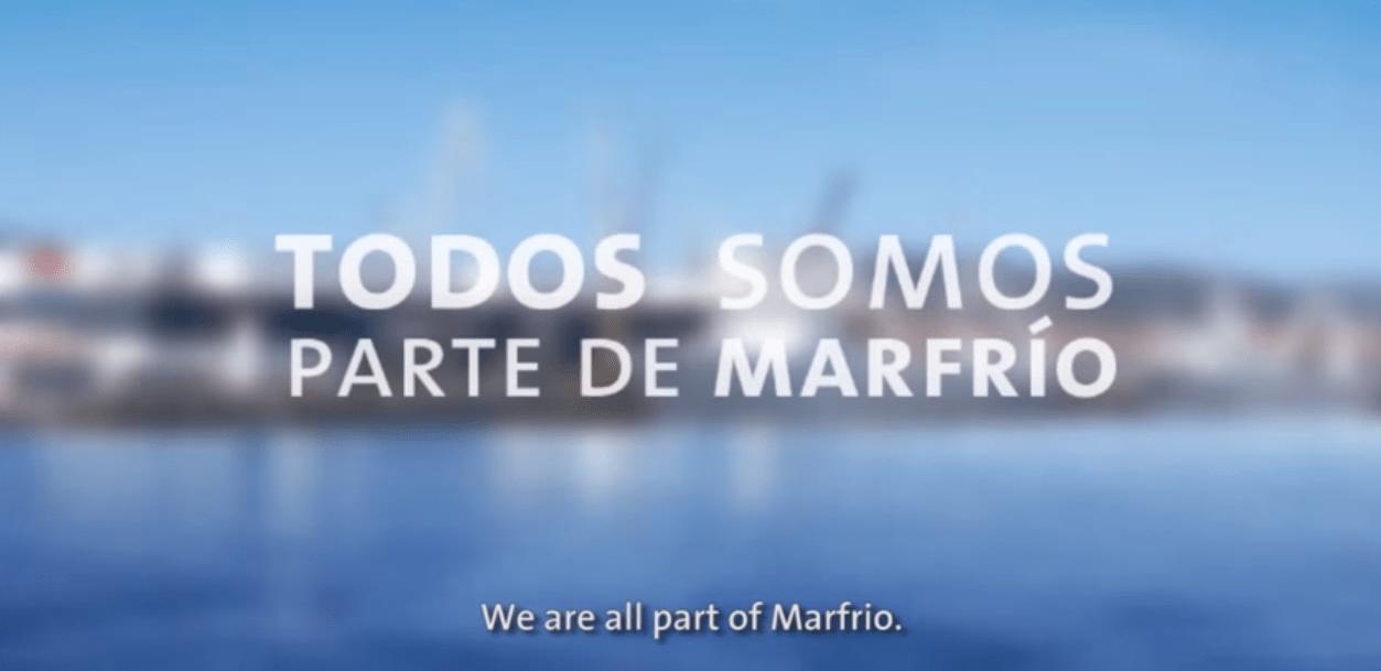 """Oficinas de Marfrio Marín con frase """"Todos somos parte de Marfrio"""""""
