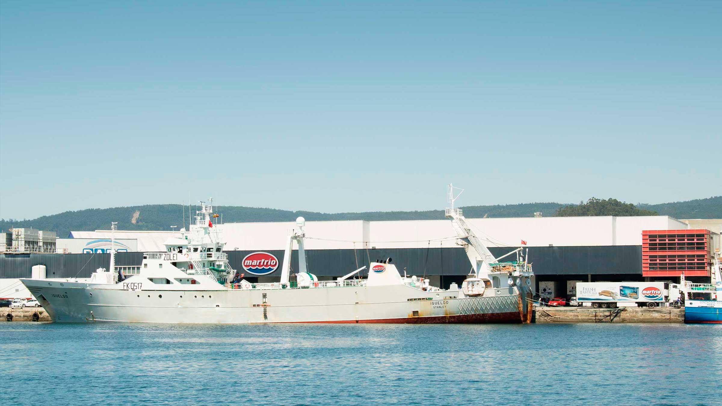 Buque Igueldo descargando Calamar patagónico en Marfrio, en el Puerto de Marín