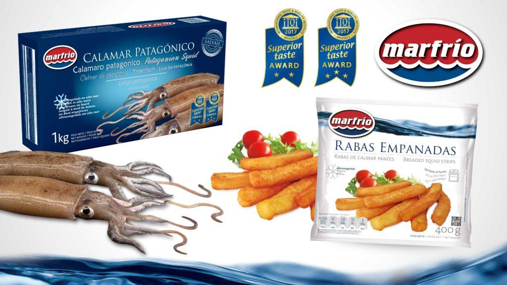 Productos premiados con el Superior Taste Award (ITQI). Raba empanada y calamar patagónico de Marfrio.