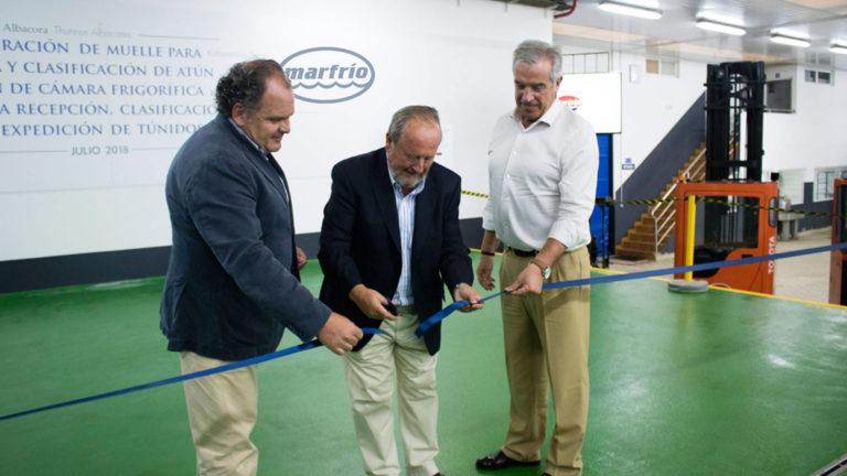 Santiago Montejo, Julio Carrasco y Guillermo Arrien en la inauguración de las nuevas instalaciones