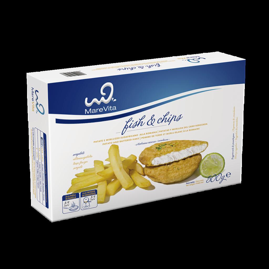Fish and chips de merluza en marca Marevita